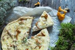 Τυρί και chanterelles πίτα Στοκ Εικόνα