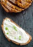 Τυρί κρέμας με τα χορτάρια και το καρύκευμα στοκ εικόνες