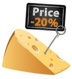 Τυρί με μια πώληση τιμών σε μια χαμηλή τιμή Στοκ φωτογραφίες με δικαίωμα ελεύθερης χρήσης