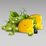 Τυρί με τα σταφύλια απεικόνιση αποθεμάτων