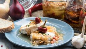 Τυρί με την άσπρη φόρμα Hermelin με το κρεμμύδι και το καυτό πιπέρι εύγευστο πρόχειρο φαγη&tau Στοκ Φωτογραφίες