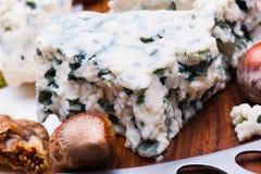 Τυρί με τους ξηρούς καρπούς και τα καρύδια Στοκ εικόνα με δικαίωμα ελεύθερης χρήσης
