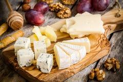 Τυρί μιγμάτων: Τυρί Emmental, Camembert, παρμεζάνα, μπλε τυρί, μπλε τυρί, με τα ξύλα καρυδιάς και το σταφύλι Στοκ εικόνα με δικαίωμα ελεύθερης χρήσης