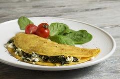 Τυρί προβάτων και ομελέτα σπανακιού στοκ φωτογραφία με δικαίωμα ελεύθερης χρήσης