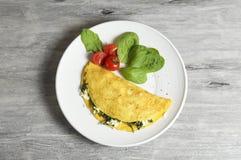 Τυρί προβάτων και ομελέτα σπανακιού στοκ εικόνα