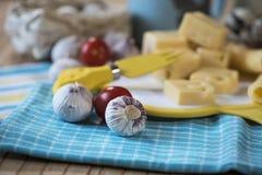 Τυρί, σκόρδο, γάλα, ξινή κρέμα Στοκ Εικόνες