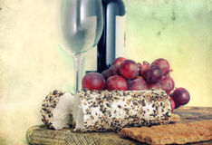 Τυρί, σταφύλι και κρασί - αναδρομικό ύφος Στοκ εικόνες με δικαίωμα ελεύθερης χρήσης