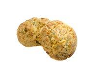 Τυρί τυριού Cheddar δύο και muffin φρέσκων κρεμμυδιών ψωμί Στοκ φωτογραφία με δικαίωμα ελεύθερης χρήσης