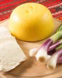 Τυρί Polenta και φρέσκο πράσινο κρεμμύδι Στοκ Εικόνα