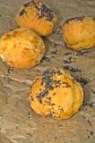 Τυρί profiteroles που ψεκάζεται με τους σπόρους παπαρουνών Στοκ Φωτογραφίες