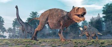 Τυραννόσαυρος Rex στη ζούγκλα ελεύθερη απεικόνιση δικαιώματος