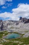 Τυρκουάζ λίμνη στα βουνά δολομίτη στοκ φωτογραφίες