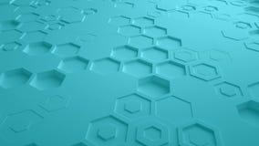 Τυρκουάζ αφηρημένος Hexagon γεωμετρικός άνευ ραφής βρόχος 4K UHD επιφάνειας Μπροστινή όψη απεικόνιση αποθεμάτων