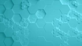 Τυρκουάζ αφηρημένος Hexagon γεωμετρικός άνευ ραφής βρόχος 4K UHD επιφάνειας απεικόνιση αποθεμάτων