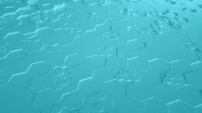 Τυρκουάζ αφηρημένος Hexagon γεωμετρικός άνευ ραφής βρόχος 4K UHD επιφάνειας Μπροστινή όψη ελεύθερη απεικόνιση δικαιώματος