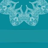 Τυρκουάζ μπλε κάρτα με το περίκομψο σχέδιο Στοκ εικόνες με δικαίωμα ελεύθερης χρήσης