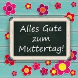 Τυρκουάζ ξύλινα λουλούδια Muttertag πινάκων Ελεύθερη απεικόνιση δικαιώματος