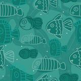 Τυρκουάζ σχέδιο Semless με την τυπωμένη ύλη των αφηρημένων ψαριών Χαριτωμένο υπόβαθρο για το κλωστοϋφαντουργικό προϊόν, έμβλημα Στοκ εικόνες με δικαίωμα ελεύθερης χρήσης