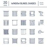 Τυφλοί παραθύρων, εικονίδια γραμμών σκιών Σκουραίνοντας διακόσμηση διάφορων δωματίων, παραθυρόφυλλα κυλίνδρων, ρωμαϊκές κουρτίνες ελεύθερη απεικόνιση δικαιώματος