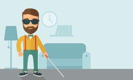 τυφλό περπάτημα ραβδιών ατόμ&o Στοκ Εικόνα