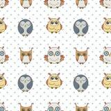 Τυχαίο άνευ ραφής σχέδιο κουκουβαγιών Χαριτωμένα πουλιά nignht Για το χρωματισμό των βιβλίων, τύλιγμα, εκτύπωση, κλωστοϋφαντουργι Στοκ Φωτογραφίες
