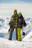τυχερά snowboarders ζευγών Στοκ εικόνες με δικαίωμα ελεύθερης χρήσης