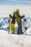 τυχερά snowboarders ζευγών Στοκ Εικόνες