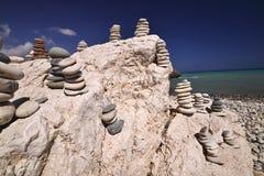 Τυχερές πέτρες στην παραλία Aphrodite, Κύπρος Στοκ φωτογραφία με δικαίωμα ελεύθερης χρήσης