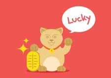 Τυχερή γάτα με το χρυσό νόμισμα Στοκ φωτογραφία με δικαίωμα ελεύθερης χρήσης