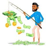 Τυχερός επιχειρηματίας με μια ράβδο αλιείας στα χέρια και το σωρό των χρημάτων κοντά στο διάνυσμα απομονωμένη ωθώντας s κουμπιών  απεικόνιση αποθεμάτων