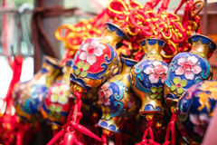Τυχερός κόμβος, διακόσμηση μπρελόκ τύχης για το κινεζικό νέο ντεκόρ έτους Στοκ Εικόνες
