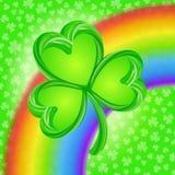Τυχερό τριφύλλι πέρα από το ουράνιο τόξο Διανυσματική απεικόνιση τριφυλλιών ημέρας του ST Patricks ελεύθερη απεικόνιση δικαιώματος