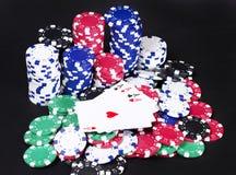 Τυχερό χέρι πόκερ άσσων Στοκ εικόνες με δικαίωμα ελεύθερης χρήσης