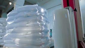 Τυλίγοντας μηχανή τεντωμάτων στην αποθήκη εμπορευμάτων απόθεμα βίντεο