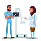 των ακτίνων X μηχανή γιατρών κινούμενων σχεδίων αραβική μουσουλμανική ελεύθερη απεικόνιση δικαιώματος
