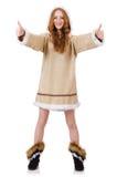 Των Εσκιμώων κορίτσι που φορά τα ενδύματα όλης της γούνας που απομονώνεται επάνω Στοκ Φωτογραφίες