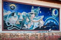 Των Μάγια μύθος σε μια τοιχογραφία στη Γουατεμάλα Στοκ εικόνα με δικαίωμα ελεύθερης χρήσης