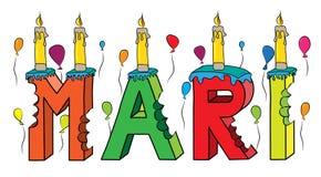 Των Μάρι θηλυκό κέικ γενεθλίων ονόματος δαγκωμένο ζωηρόχρωμο τρισδιάστατο γράφοντας με τα κεριά και τα μπαλόνια Στοκ Εικόνες