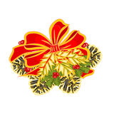 Τόξα διακοσμήσεων Χριστουγέννων με το διάνυσμα κώνων πεύκων Στοκ εικόνα με δικαίωμα ελεύθερης χρήσης