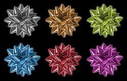 τόξα φιαγμένα από πολύχρωμες λαμπρές κορδέλλες Στοκ εικόνες με δικαίωμα ελεύθερης χρήσης