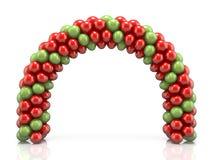 Τόξο φιαγμένο από κόκκινα και πράσινα μπαλόνια τρισδιάστατα Στοκ Φωτογραφία