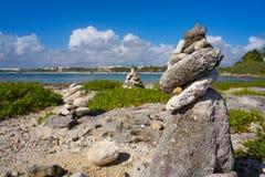 Τύμβος συσσωρευμένο πέτρα Riviera Maya κόλπων Akumal Στοκ Φωτογραφία