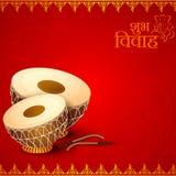 Τύμπανο στην ινδική κάρτα γαμήλιας πρόσκλησης διανυσματική απεικόνιση