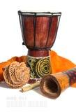 Τύμπανο, didgeridoo και εθνικά μουσικά όργανα που απομονώνονται σε ένα wh Στοκ Εικόνες
