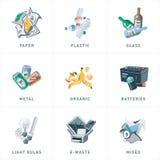 Τύποι κατηγοριών ανακύκλωσης αποβλήτων απορριμμάτων ελεύθερη απεικόνιση δικαιώματος