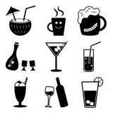 Τύποι μη αλκοολούχων ποτών και ποτών οινοπνεύματος, διανυσματικό σύνολο διανυσματική απεικόνιση