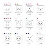 Τύποι υποδοχών που χρησιμοποιούνται στις διαφορετικές χώρες Μια έκδοση των υποδοχών κάτω από τα παγκόσμια πρότυπα οι χώρες σχεδιά Στοκ εικόνες με δικαίωμα ελεύθερης χρήσης