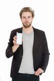 Τύπος ή επιχειρηματίας με το κινητό τηλέφωνο που απομονώνεται στο λευκό Στοκ εικόνα με δικαίωμα ελεύθερης χρήσης