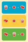 Τύπος αγάπης των καρδιών, χειλικό φιλί, κιβώτιο δώρων, παρόν Συλλογή των διανυσματικών συμβολικών σημαδιών με τα χρωματισμένα υπό Στοκ Φωτογραφίες