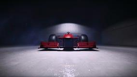 Τύπος 1 αγωνιστικό αυτοκίνητο στο βίντεο κοιλωμάτων απεικόνιση αποθεμάτων